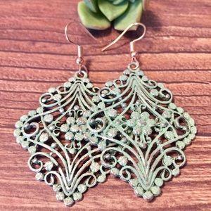 Sage green boho summer floral teardrop earrings